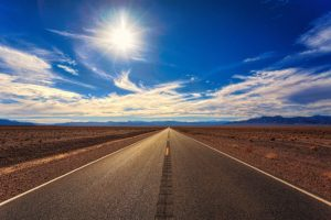 Sun-and-road